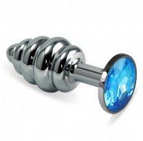 Голубая анальная втулка Silver S