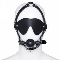 Черная маска БДСМ с дышащим кляпом