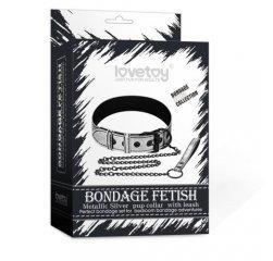 Дерзкий серебристый БСДМ-ошейник Bondage Fetish