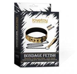 Дерзкий золотистый БСДМ-ошейник Bondage Fetish