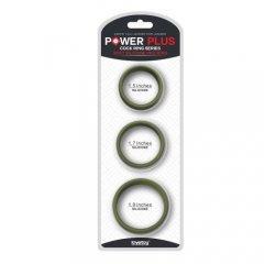 Набор из 3 плоских зеленых эрекционных колец Power Plus Soft Pro