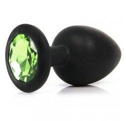 Черный анальный плаг из силикона с салатовым камнем L