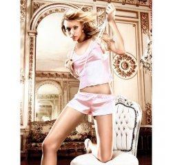 Бледно-розовая атласная пижама M/L
