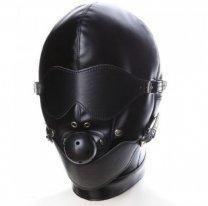 Бондажный закрытый шлем с кляпом