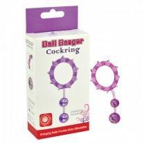 Кольцо эрекционное с 2 шариками фиолетовое Ball Banger