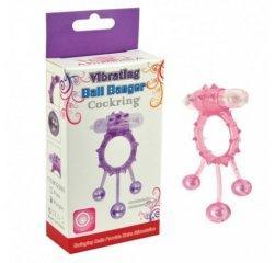 Розовое кольцо на член с вибрацией Ball Banger 3 Balls Vibe