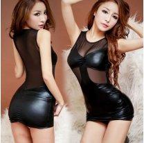 Черное виниловое платье для клубов и вечеринок