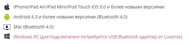 Совместимость приложения Lovense Remote