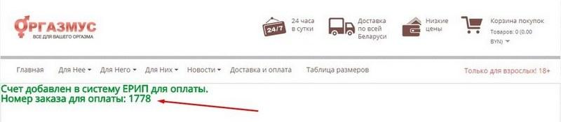 Как выглядит счет для оплаты заказа в секс шопе в Минске через ЕРИП